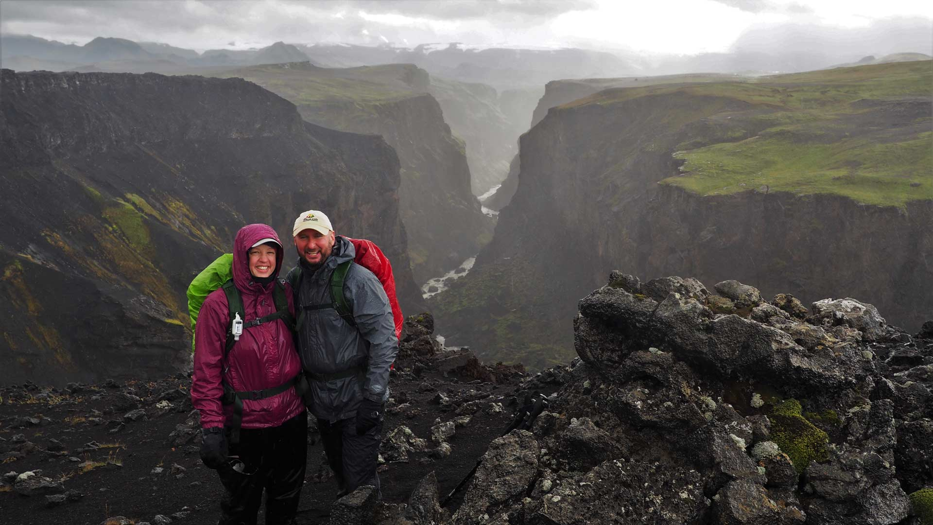Rick and Amy Simmons hiking in Iceland